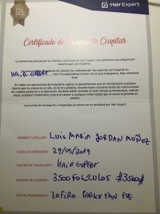 Hair Expert - Certificado implante capilar